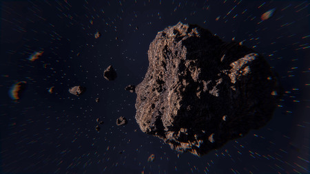 Illustration of space scene with asteroids