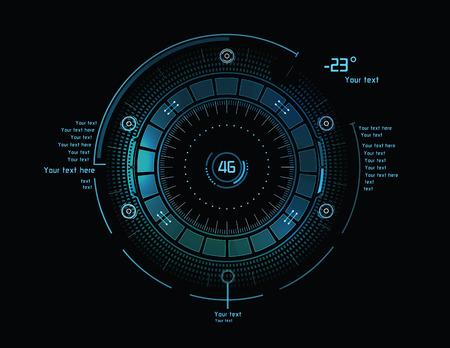 ヘッドアップ ・ ディスプレイとして未来の青インフォ グラフィック
