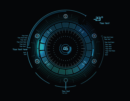 future space: Futuristic blue infographics as head-up display