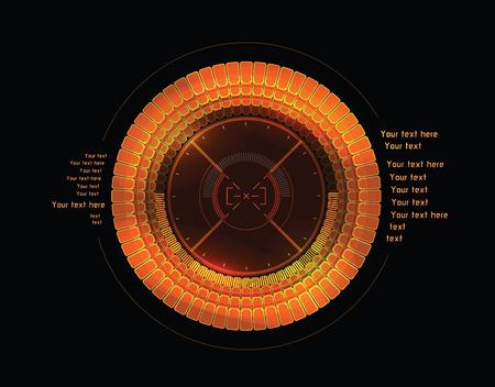 Futuristic orange infographics as head-up display Vector