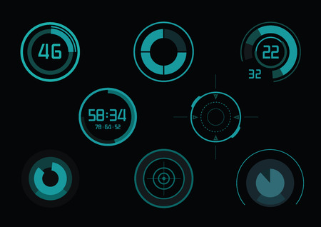 Set of green infographics as head-up display Vector