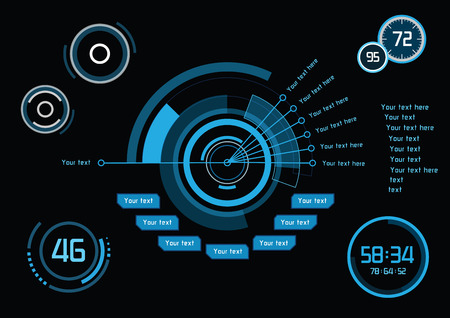 Set of blue infographics as head-up display Иллюстрация