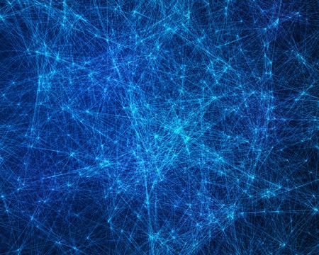 青いサイバネティック粒子デジタル抽象的な背景
