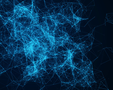 cybernetic: Background with blue cybernetic particles Stock Photo