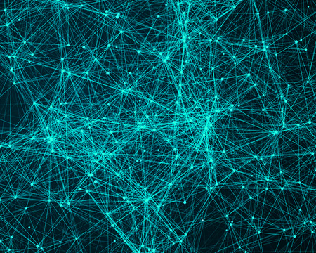 cybernetic: Abstract digital background with turquoise cybernetic particles Stock Photo
