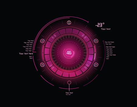 Futuristic pink head-up display Illusztráció