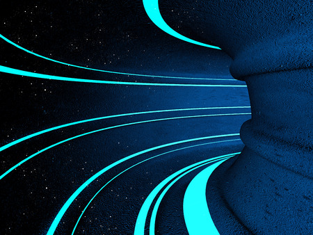 tunnel: Fantasy illustration of sci-fi tunnel with stars.