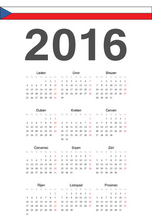 mondays: Simple Czech 2016 year vector calendar. Week starts from Mondays.