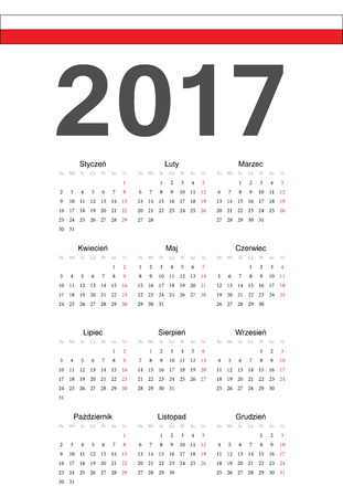 mondays: Simple Polish 2017 year vector calendar. Week starts from Mondays.