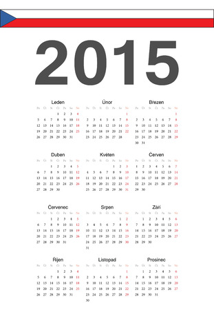 mondays: Simple Czech 2015 year vector calendar. Week starts from Mondays.