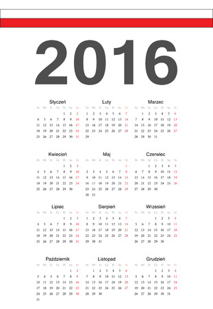 mondays: Simple Polish 2016 year vector calendar. Week starts from Mondays. Illustration