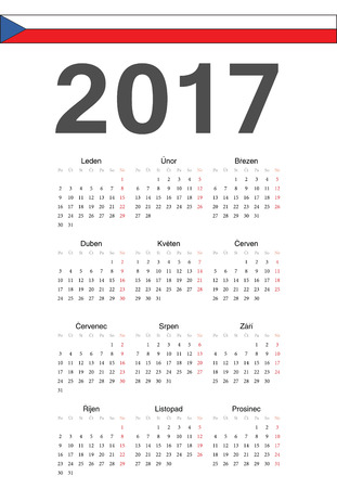 mondays: Simple Czech 2017 year vector calendar. Week starts from Mondays.