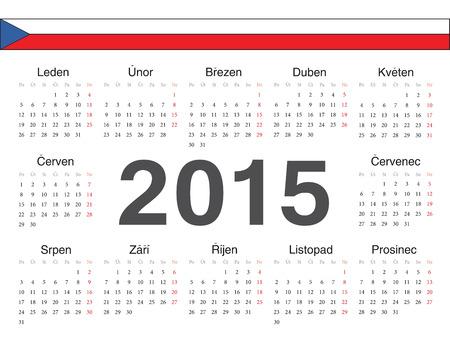 calendrier: Vector Czech circle calendar 2015. Week starts from Monday.