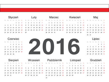 calendrier: Vector Polish circle calendar 2016. Week starts from Monday.