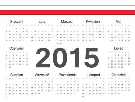 calendrier: Vector Polish circle calendar 2015. Week starts from Monday. Illustration