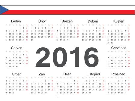 calendrier: Vector Czech circle calendar 2016. Week starts from Monday.