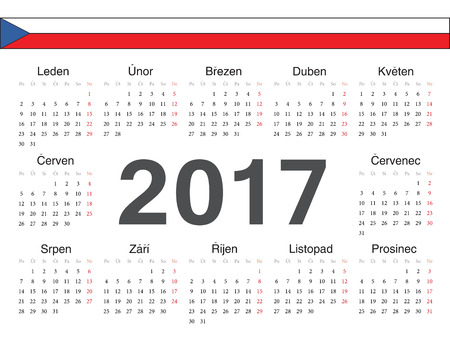 calendrier: Vector Czech circle calendar 2017. Week starts from Monday. Illustration