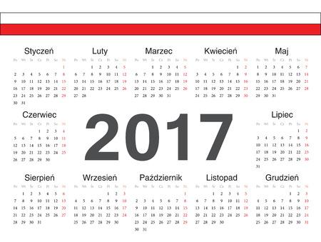 calendrier: Vector Polish circle calendar 2017. Week starts from Monday.