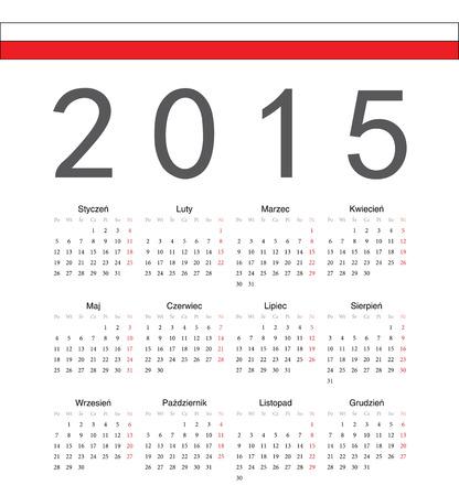 単純なポーランド 2015 年ベクトルカレンダー。週は月曜日から始まります。