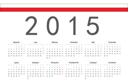 calendrier: Simple Polish 2015 year vector calendar. Week starts from Monday.