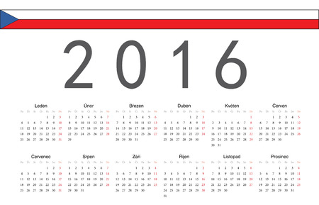 starts: Simple Czech 2016 year vector calendar. Week starts from Monday. Illustration