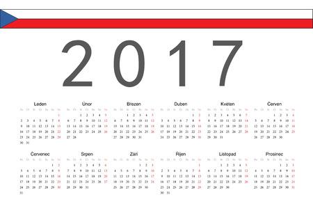 calendrier: Simple Czech 2017 year vector calendar. Week starts from Monday.