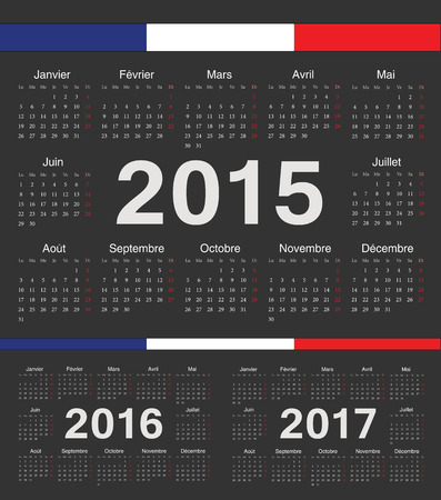 calendrier: Vector black french circle calendars 2015, 2016, 2017. Week starts from Monday.