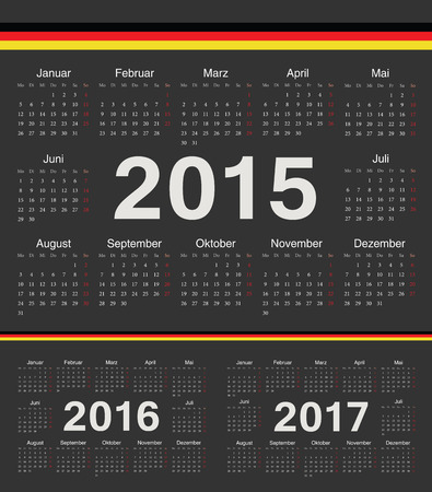 calendrier: Vector black german circle calendars 2015, 2016, 2017. Week starts from Monday.