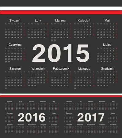 calendrier: Vector black Polish circle calendars 2015, 2016, 2017. Week starts from Monday. Illustration