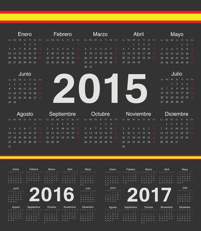 calendrier: Vector black spanish circle calendars 2015, 2016, 2017. Week starts from Monday.
