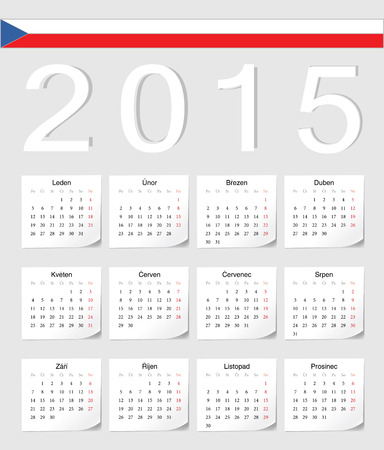 angles: Czech 2015 vector calendar with shadow angles. Week starts from Monday. Illustration