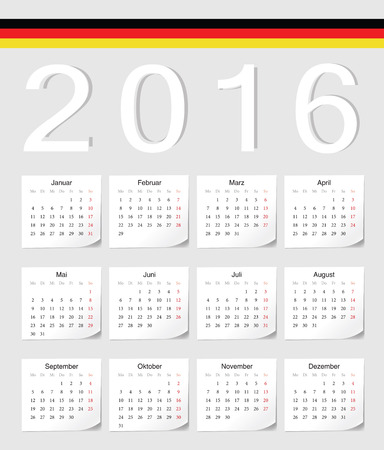 angles: German 2016 vector calendar with shadow angles. Week starts from Monday.