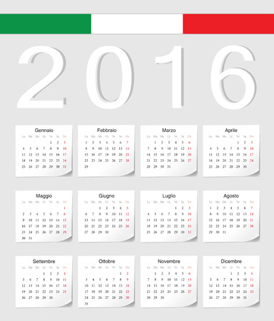 Italian 2016 vector calendar with shadow angles. Week starts from Monday. Vector