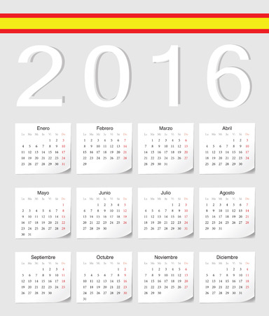 angles: Spanish 2016 vector calendar with shadow angles. Week starts from Monday. Illustration