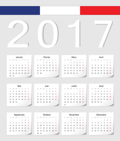 calendrier: French 2017 vector calendar with shadow angles. Week starts from Monday. Illustration