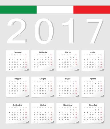 シャドウの角度を持つイタリア 2017年ベクトル カレンダーです。週は月曜日から始まります。