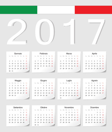 Italian 2017 vector calendar with shadow angles. Week starts from Monday. 矢量图像