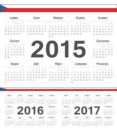 calendrier: Vector Czech circle calendars 2015, 2016, 2017. Week starts from Monday.