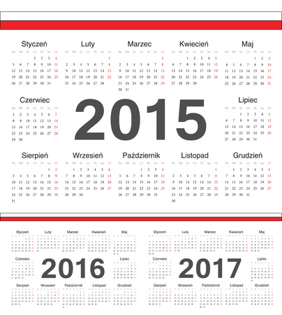 calendrier: Vector Polish circle calendars 2015, 2016, 2017. Week starts from Monday. Illustration