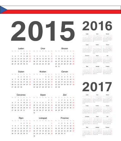 Set of simple Czech 2015, 2016, 2017 year vector calendars. Week starts from Mondays. Illustration
