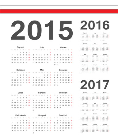 mondays: Set of simple Polish 2015, 2016, 2017 year vector calendars. Week starts from Mondays.