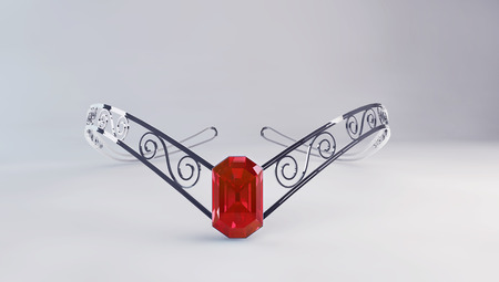 zircon: 3d illustration of beauty diadem with ruby