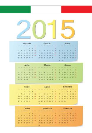 Italian 2015 vector color calendar. Week starts from Monday. Vector