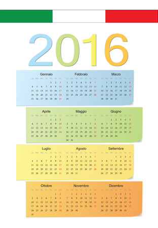 Italian 2016 vector color calendar. Week starts from Monday. Vector