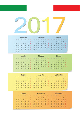 Italian 2017 vector color calendar. Week starts from Monday. Vector