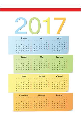 ポーランド 2017年ベクトル カラーのカレンダー。週は月曜日から始まります。