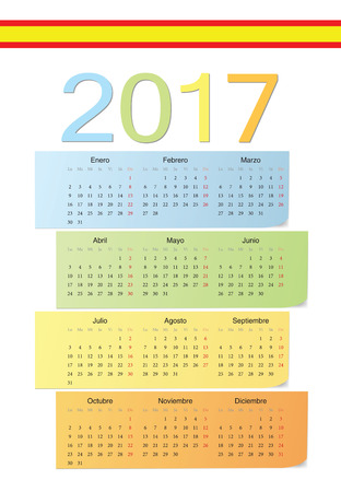 starts: Spanish 2017 vector color calendar. Week starts from Monday.