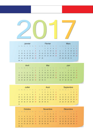 French 2017 vector color calendar. Week starts from Monday.