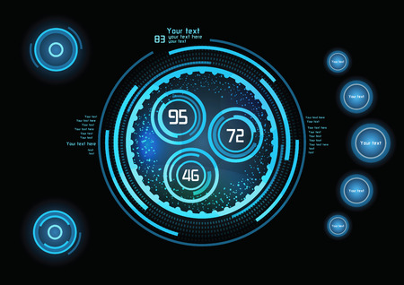 head: Futuristic blue infographics as head-up display