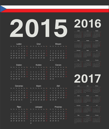 mondays: Set of black Czech 2015, 2016, 2017 year vector calendars. Week starts from Mondays.